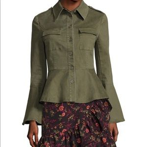 Size L Military Green Peplum Jacket from Saks